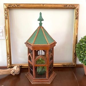 Tin Roof Wooden Birdcage Decor Piece